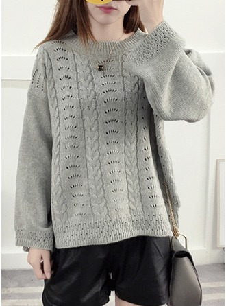 Plain Knit Round Neck Sweater Kazak