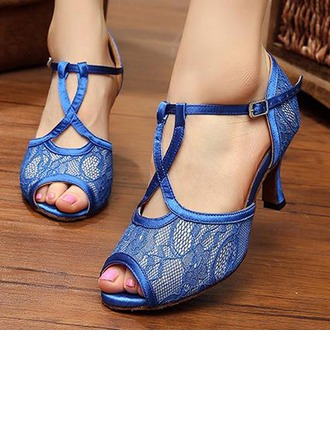 Women's Satin Lace Sandals Pumps Latin Party With T-Strap Dance Shoes
