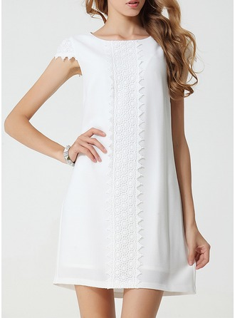 Polyester/Chiffon With Lace Above Knee Dress