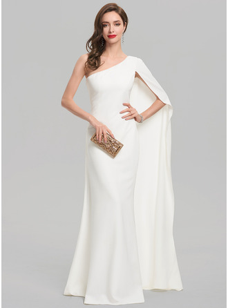 Sheath/Column One-Shoulder Floor-Length Stretch Crepe Wedding Dress