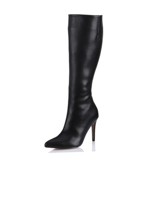 Leatherette Stiletto Heel Knee High Boots Riding Boots shoes
