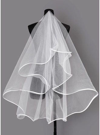 One-tier Ribbon Edge Elbow Bridal Veils
