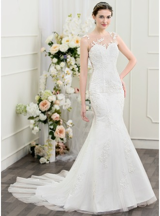 Trumpet/Mermaid Scoop Neck Chapel Train Tulle Lace Wedding Dress