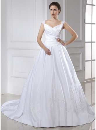 Ball-Gown V-neck Chapel Train Satin Wedding Dress With Embroidered Ruffle