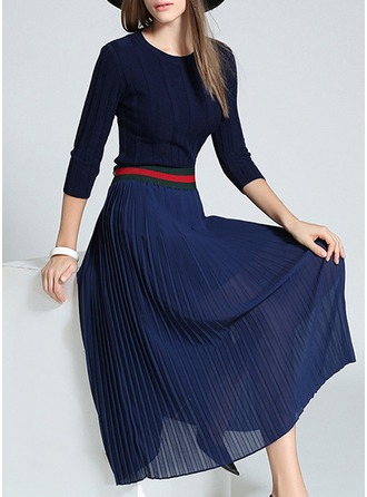 Polyester/Chiffon With Stitching Midi Dress