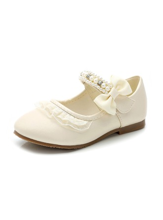 Girl's Leatherette Flat Heel Closed Toe Flats With Bowknot Velcro