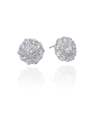 Ladies' Classic 925 Sterling Silver With Cubic Cubic Zirconia Earrings For Mother/For Friends