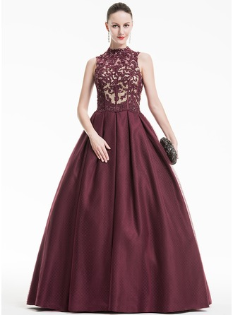 Ball-Gown High Neck Floor-Length Tulle Prom Dress With Ruffle Beading Sequins