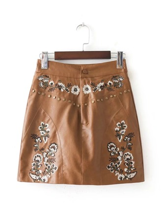 A-Line Skirts Mini Embroidery Leather/PU Etekler