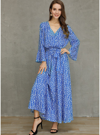Cotton With Print/Crumple Maxi Dress
