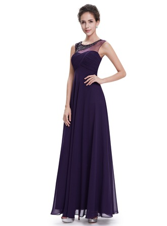 Polyester/Satin/Tyll/Silk Blend med Beaded/Volang Maxi Kle
