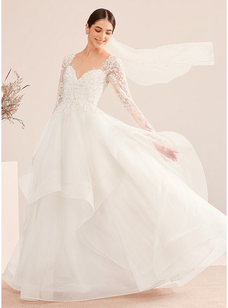 Ball-Gown/Princess V-neck Floor-Length Wedding Dress With Beading Sequins
