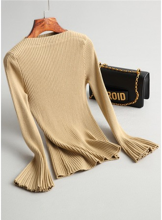 Plain Ribbed Knit Boat Neck Sweater Sweaters