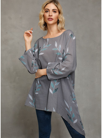 Long Sleeves Cotton Polyester Round Neck Блузы