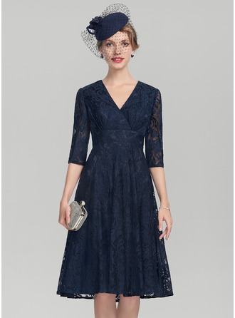 V-neck Knee-Length Lace Mother of the Bride Dress