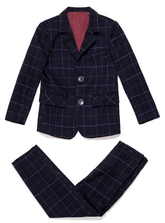 Boys 2 Pieces Plaid Ring Bearer Suits With Jacket Pants