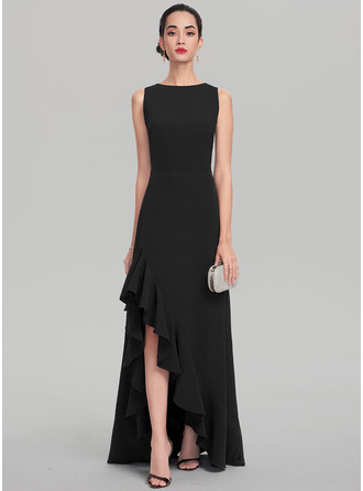 A-Line Scoop Neck Asymmetrical Stretch Crepe Evening Dress With Cascading Ruffles