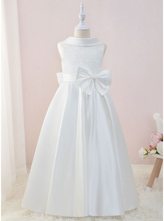 Floor-length Flower Girl Dress - Satin Lace Sleeveless Scoop Neck With Bow(s)
