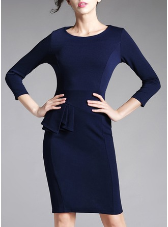 Cotton Blends With Stitching/Crumple Knee Length Dress