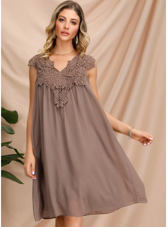 Chiffon With Lace/Chiffon Knee Length Dress