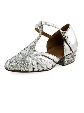 Women's Kids' Leatherette Sparkling Glitter Heels Ballroom With T-Strap Dance Shoes