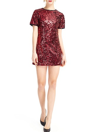 Chiffon With Sequins Above Knee Dress