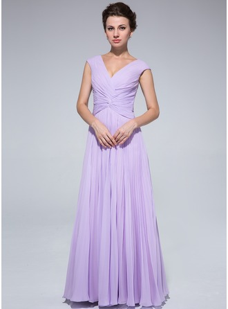 A-Line/Princess V-neck Floor-Length Chiffon Mother of the Bride Dress With Pleated
