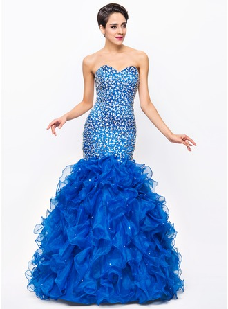 Trumpet/Mermaid Sweetheart Floor-Length Satin Organza Prom Dress With Beading Sequins