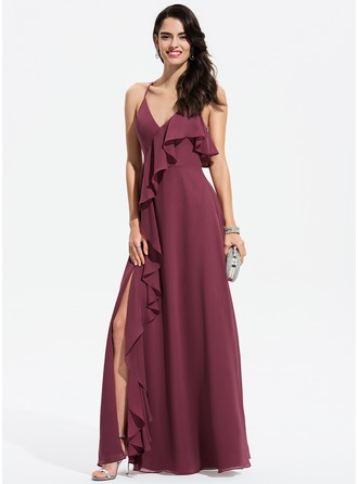V-neck Floor-Length Chiffon Prom Dresses With Split Front Cascading Ruffles