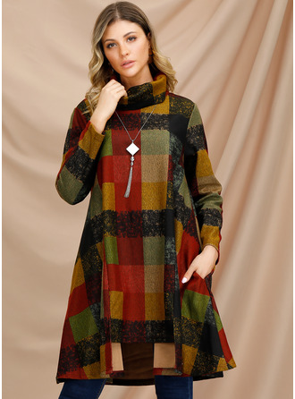 Cotton Blends With Plaid Knee Length Dress