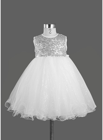 A-Line/Princess Knee-length Flower Girl Dress - Satin Sleeveless Scoop Neck With Sequins/Bow(s)