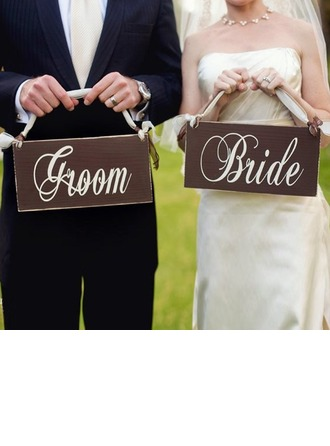Bride and Groom Wooden Wedding Sign (set of 5 pairs)