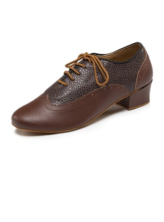 Men's Leatherette Real Leather Heels Latin Dance Shoes