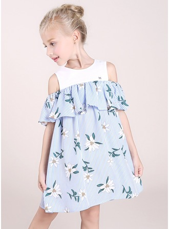 A-Line/Princess Knee-length Flower Girl Dress - Polyester/Cotton Blends Short Sleeves Scoop Neck