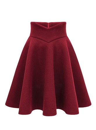 A-Line Skirts Above Knee Plain Polyester Skirts
