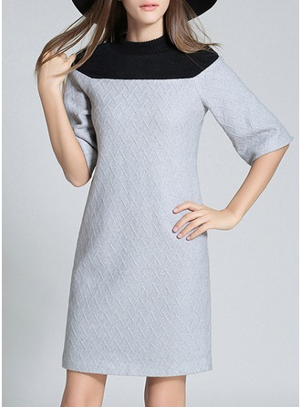 Knitting/Woolen With Stitching Knee Length Dress