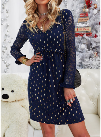 Lace Print Shift V-Neck Long Sleeves Midi Casual Elegant Tunic Dresses