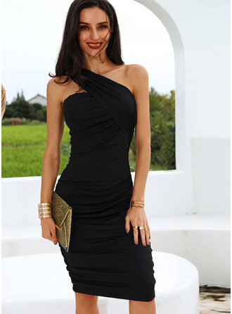 Solid Bodycon One Shoulder Sleeveless Midi Little Black Party Sexy Pencil Dresses