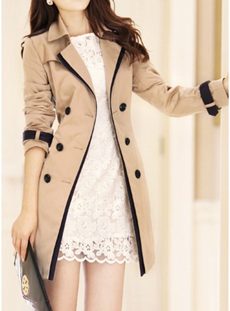 Polyester Long Sleeves Plain Trench Coats Coats