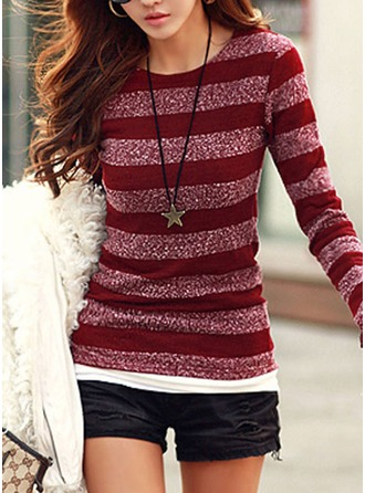 Striped Knit Round Neck Sweater Sweaters