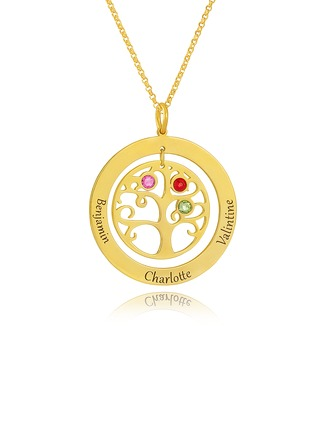 18k Gold Plated Silver Engraving/Engraved Circle Three Birthstone Necklace With Family Tree