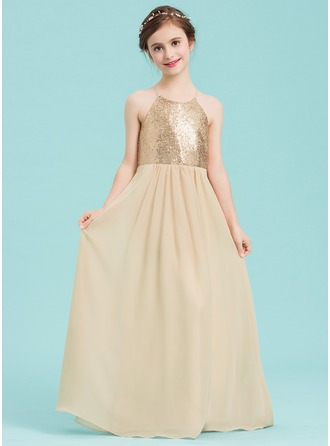 Square Neckline Floor-Length Chiffon Junior Bridesmaid Dress