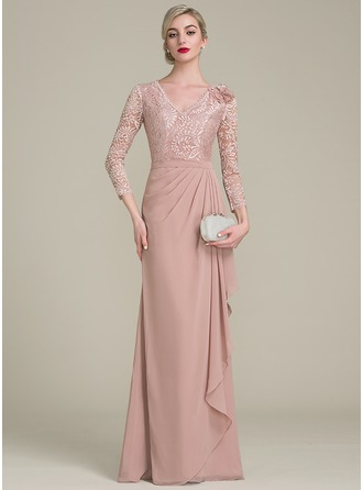 A-Line/Princess V-neck Floor-Length Chiffon Evening Dress With Flower(s) Cascading Ruffles