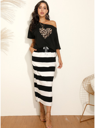 Polyester With Print Midi Dress (Two Pieces)