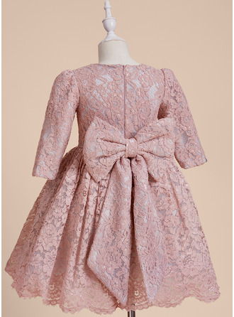Knee-length Flower Girl Dress - Lace 1/2 Sleeves Scoop Neck With Beading Bow(s)