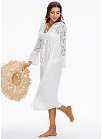 Bohemian Solid Color Polyester Lace Cover-ups
