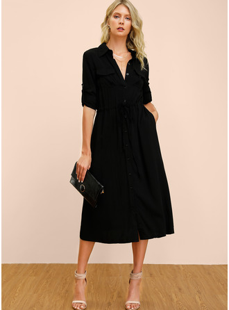 Cotton With Button/Solid/Slit Midi Dress