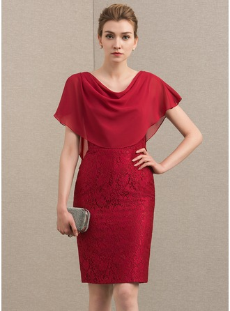 Sheath/Column Cowl Neck Knee-Length Chiffon Lace Mother of the Bride Dress
