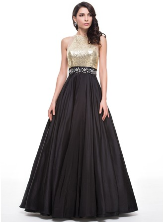 Ball-Gown Scoop Neck Floor-Length Taffeta Sequined Prom Dresses With Beading