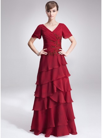 A-Line/Princess V-neck Floor-Length Chiffon Mother of the Bride Dress With Lace Beading Sequins Cascading Ruffles